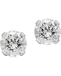 Effy - Diamond And 14k White Gold Round Stud Earrings - Lyst