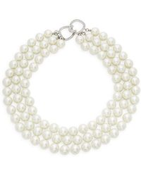 Kenneth Jay Lane - Sterling Silver, Faux Pearl & Crystal Three-row Collar Necklace - Lyst