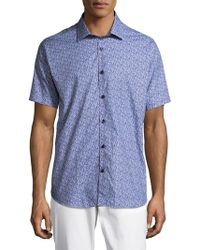 Jared Lang - Mens Short-sleeve Cotton Printed Button Down - Lyst