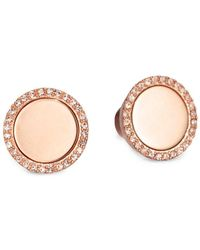 Michael Kors - Pavé Disc Button Earrings - Lyst