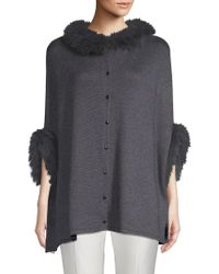 Belle Fare Dyed Fox Fur Trimmed Poncho
