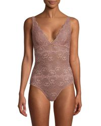 Samantha Chang All Lace V-neck Bodysuit - Multicolor