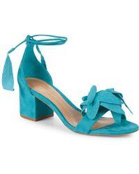 ed17dce09627 Schutz Thainy Suede Stiletto Sandals in Pink - Lyst