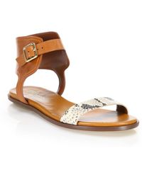 Cole Haan - Barra Snake-embossed Leather Sandals - Lyst