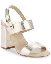 "Joie - Lakin Metallic Leather Block Heel Sandals/3.5"" - Lyst"