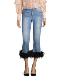 Alice + Olivia - Tasha Cropped Feather Hem Jeans - Lyst
