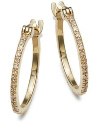 Danni - Diamond And 14k Yellow Gold Hoop Earrings - Lyst