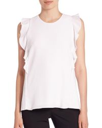Carven - Ruffled Sleeveless Top - Lyst