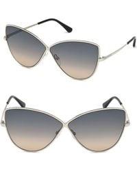 1f0ba889f61c Tom Ford Elise Cat Eye Frame Sunglasses in Gray - Lyst