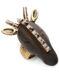 Valentino - Embossed Carved Wood Pendant Ring - Lyst