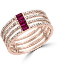 Effy - Amore 14k Rose Gold, Natural Ruby & Diamond Ring - Lyst
