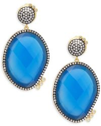 Freida Rothman - Baroque Blues Opulence Blue Agate & Gold Drop Earrings - Lyst