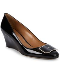 Bally Patent Leather Wedge Court Shoes - Black