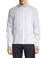 Valentino - Pleated Cotton Button-down Shirt - Lyst