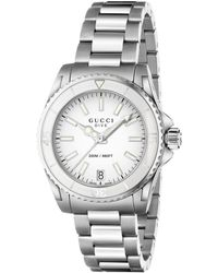Gucci - Dive Stainless Steel Bracelet Watch/white - Lyst