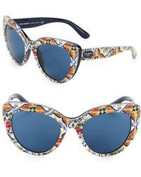 Dolce & Gabbana - 53mm Tile Print Cateye Sunglasses - Lyst