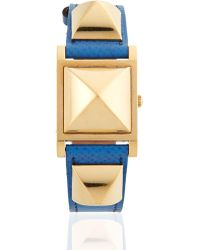 Hermès - Vintage Blue/gold Courchevel Medor Watch - Lyst