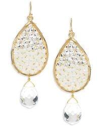 Panacea - Crystal & Beads Teardrop Earrings - Lyst
