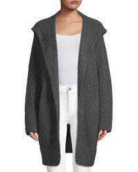 INHABIT - Hooded Open-front Coat - Lyst