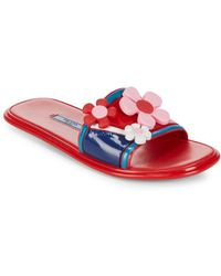 Prada - Leather Flower Slides - Lyst