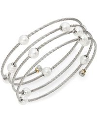 Alor - Classique 1.6mm White Round Freshwater Pearl, 18k White Gold & Stainless Steel Bracelet - Lyst