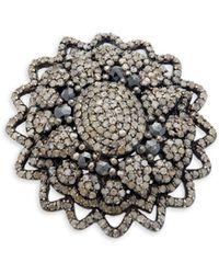 Bavna - Sterling Silver & Diamond Statement Ring - Lyst
