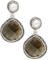 Kevia - Crystal Teardrop Earrings - Lyst