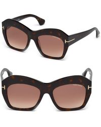 85dab564a4 Lyst - Tom Ford 51mm Clubmaster Sunglasses in Brown
