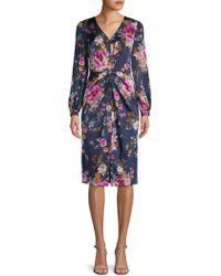 Maggy London - Petite Floral Charmeuse Draped Dress, - Lyst