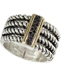 Effy - 18k Yellow Gold And Black Diamonds Twist Ring - Lyst