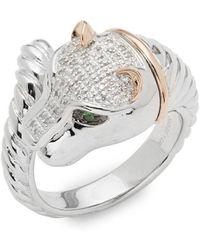 Effy - Diamond, Tsavorite, 14k Gold And Sterling Silver Ring, 0.12 Tcw - Lyst