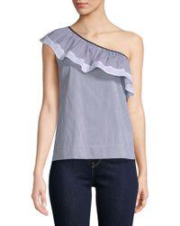 Saks Fifth Avenue Black - Cotton-blend Striped One Shoulder Top - Lyst