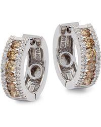 Effy - 14k White Gold White & Brown Diamond Wide Hoop Earrings - Lyst