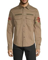 Valentino - Graphic Tropical Cotton Button-down Shirt - Lyst