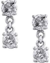 Effy - Pave Classica Diamond And 14k White Gold Drop Earrings, 0.98 Tcw - Lyst