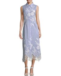 T Tahari - Millie Lace-hem Shirt Dress - Lyst