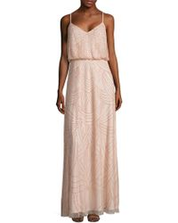 Adrianna Papell - Crisscross Back Sequined Blouson Gown - Lyst