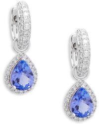 Effy - White Diamond, Tanzanite And 14k White Gold Drop Earrings - Lyst