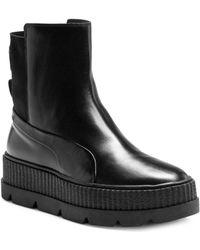 e4ba29e1e702b0 Lyst - PUMA Fenty High Heel Sneaker Ankle Boots in White
