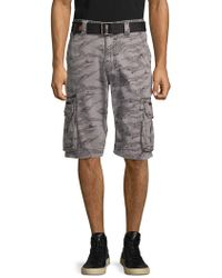 19944573e58 Affliction Camouflage-print Belted Cargo Shorts