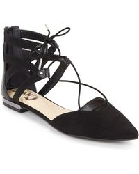 Circus by Sam Edelman - Microsuede Lace-up Flats - Lyst