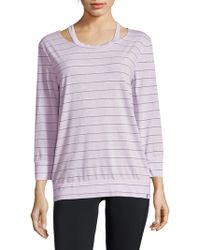 Andrew Marc - Striped Three-quarter Sleeve Top - Lyst