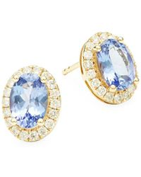 Effy - Diamond And Tanzanite 14k Yellow Gold Bezel Stud Earrings - Lyst