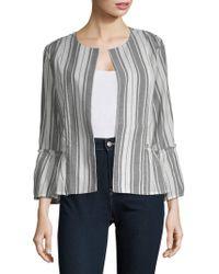August Silk - Open Front Long-sleeve Cotton Jacket - Lyst