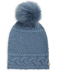 Yves Salomon - Dyed Fox Fur Pom Pom Knitted Beanie - Lyst