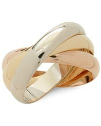 Estate Fine Jewelry - Cartier Vintage 18k Gold Multi-row Band Ring - Lyst