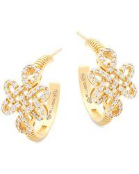 Freida Rothman - Crystal And Sterling Silver Knot Hoop Earrings - Lyst