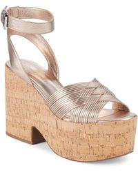 c1dad56a1ba Lyst - Rachel Zoe Hallah Open-toe Leather Platform Sandals in Natural