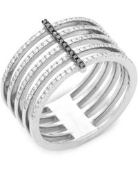EF Collection - Black Diamond And 14k White Gold Bar Spiral Ring, 0.32 Tcw - Lyst