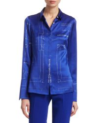 Akris - Satin Blueprint Shirt - Lyst
